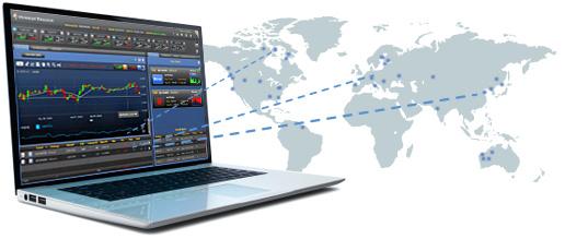 Pc portable avec des graphiques de trading et le globe terrestre en arrière plan